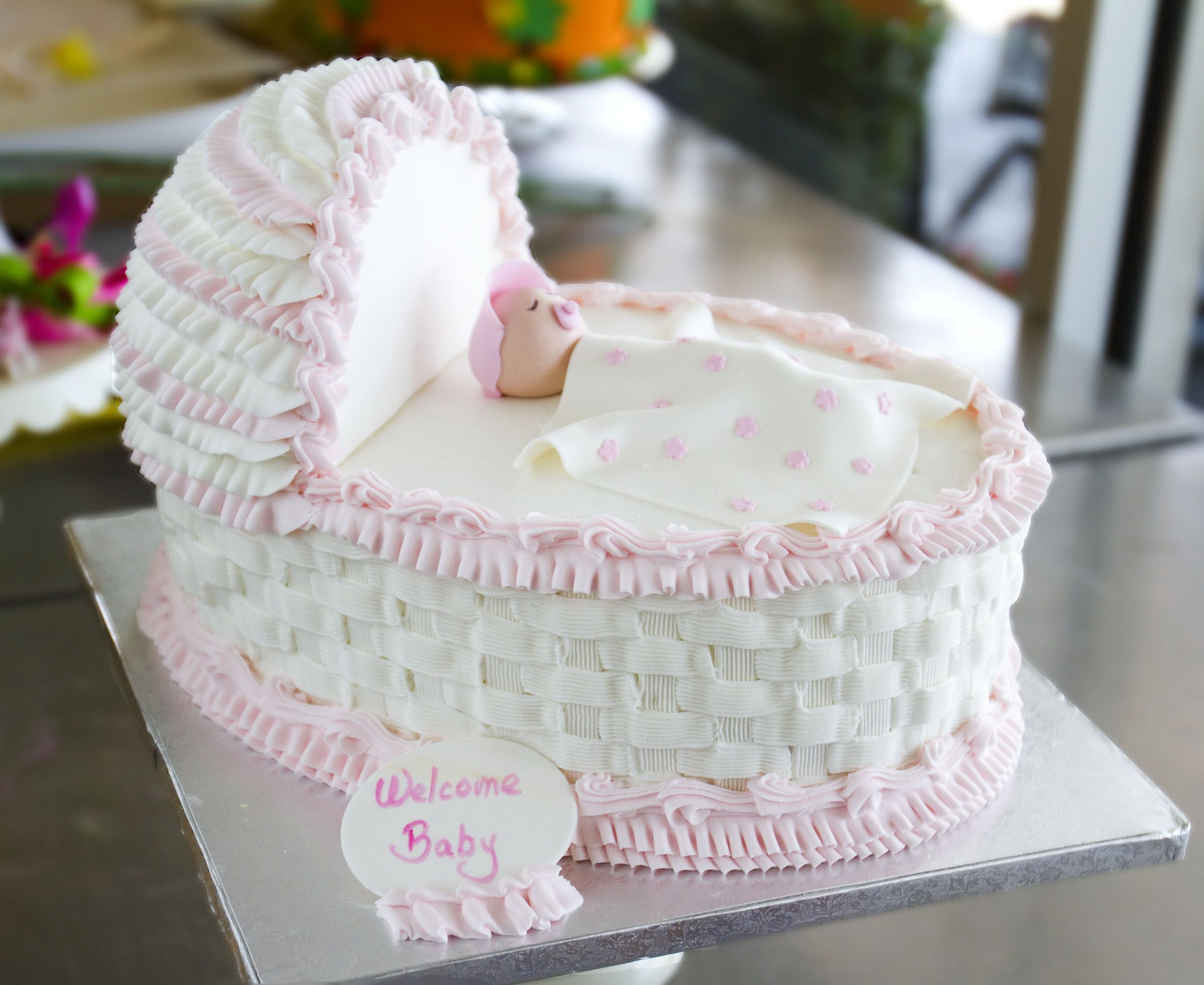This Bassinet Cake Is Perfect For A Baby Shower! Cake # 007.