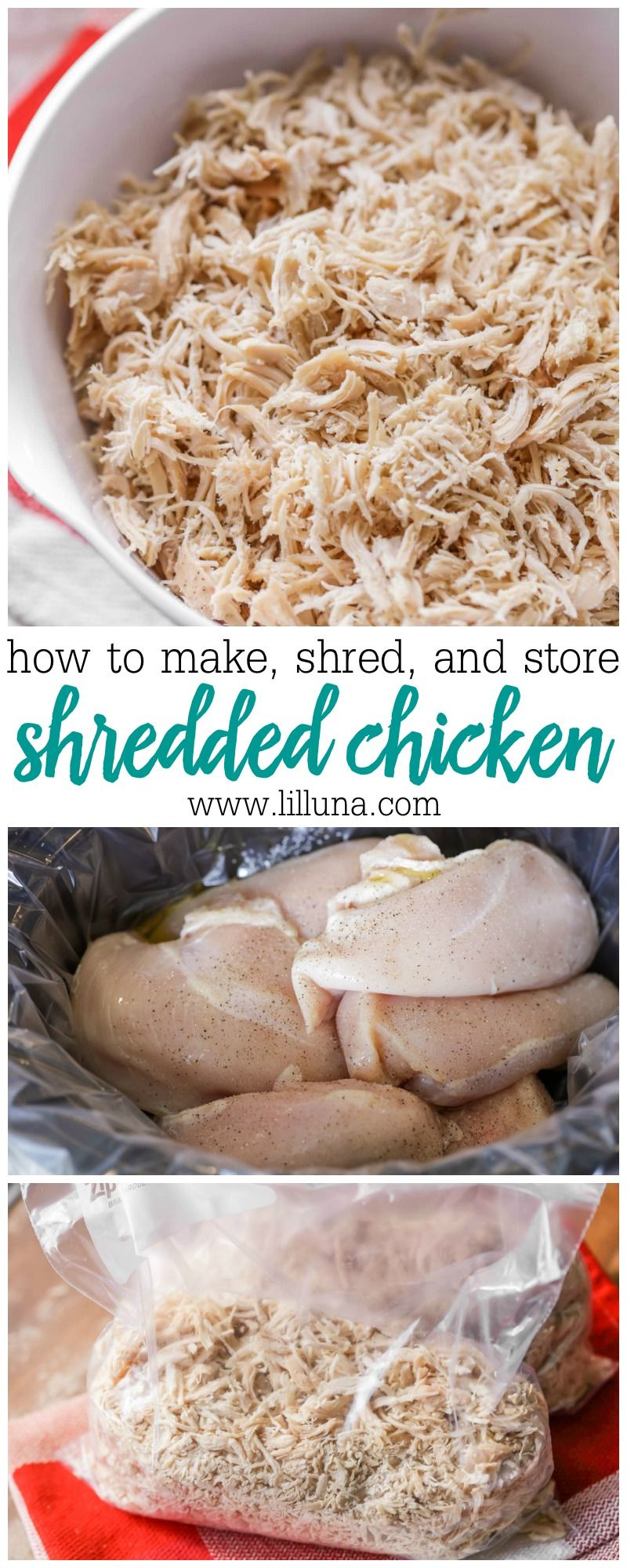 Shredded Chicken (How to Cook, Shred, Use, and Store it!) | Lil' Luna