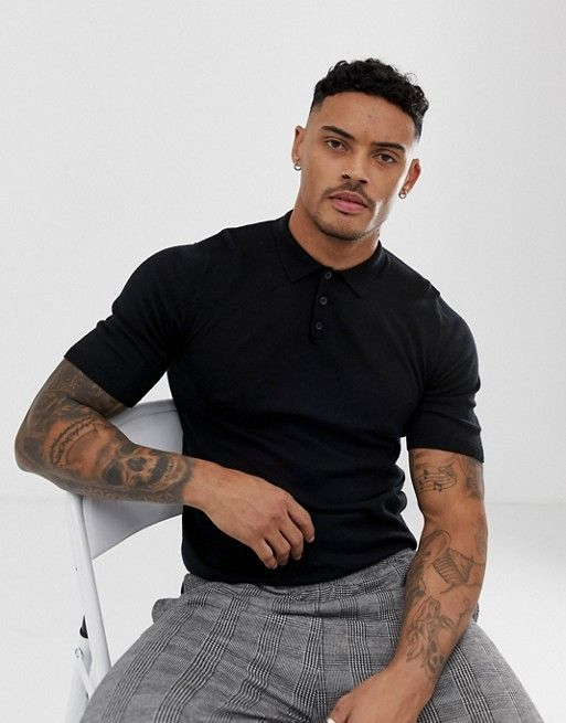 f68df7f5 DESIGN knitted muscle fit polo t-shirt in black in 2019 | BD2 | Polo ...