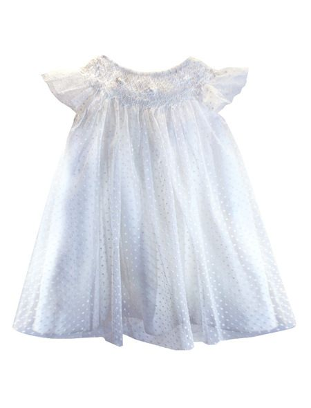 ffae832af Angelic Hand Smocked and Hand Embroidered Swiss Dot Soft Tulle Baby ...