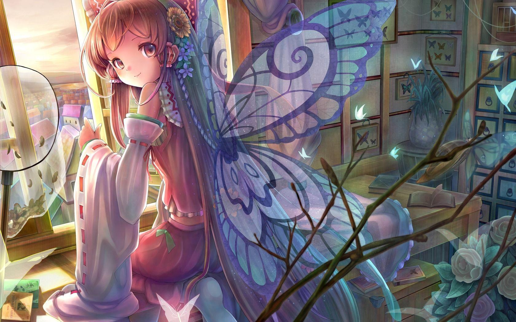 Download wallpaper girl, Sitting, wings, Butterflies free