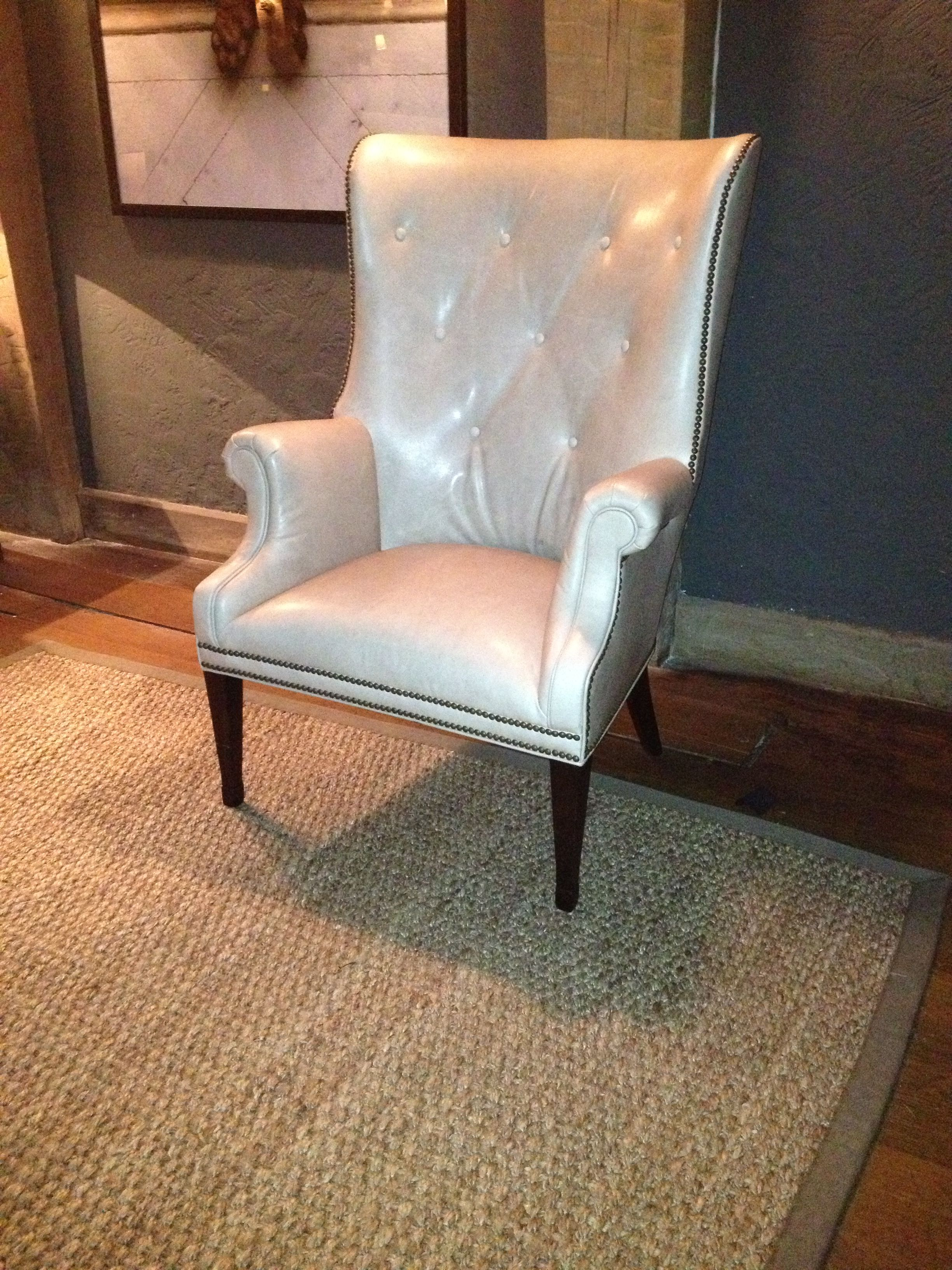The Isaac Wing Chair Upholstered In An Ivory Leather Seen At Greensboro Nc Junior