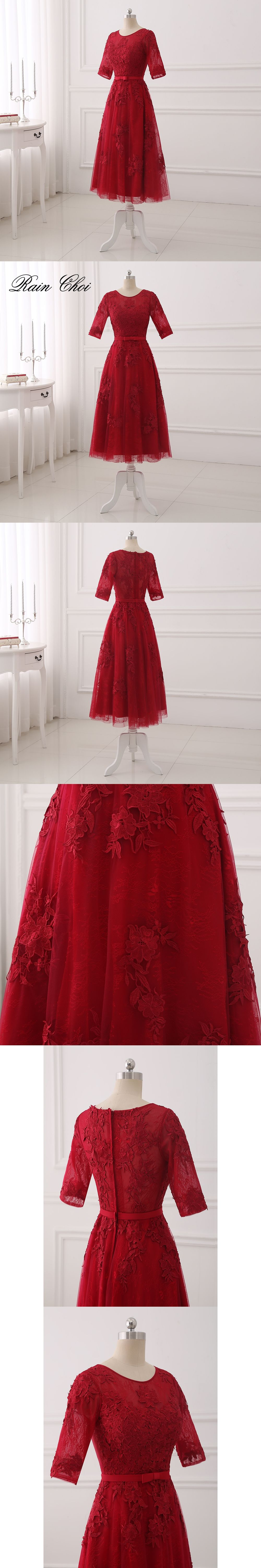 Red formal dresses aline short prom party gowns tea length evening