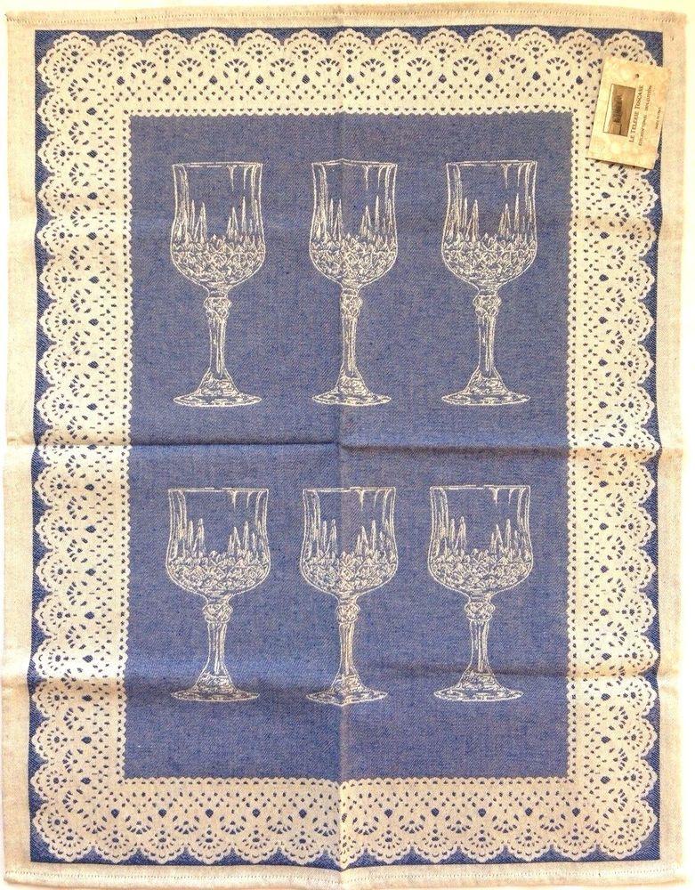 Le Telerie Toscane Italy Cotton Jacquard Kitchen Tea Towel Crystal Glasses NWT #LeTelerieToscane