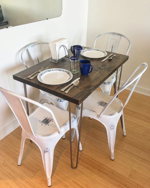 Modern Rustic Dinette Kitchen Table, Hairpin Legs ...