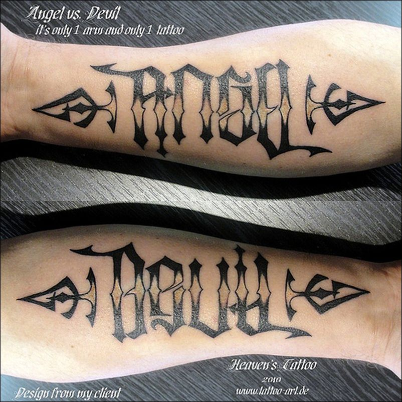 d941e0725 Angel devil ambigram tattoo 2 - Tattoos Book - 65.000 Tattoos Designs | Tattoo  Designs ༆ #tattoodesigns #tattoovorlagen #tatuajes #tattooart #tattooideen  ...