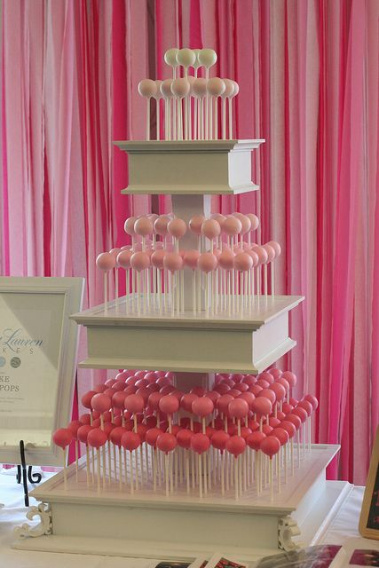 Pink Cake Pops And White Stand