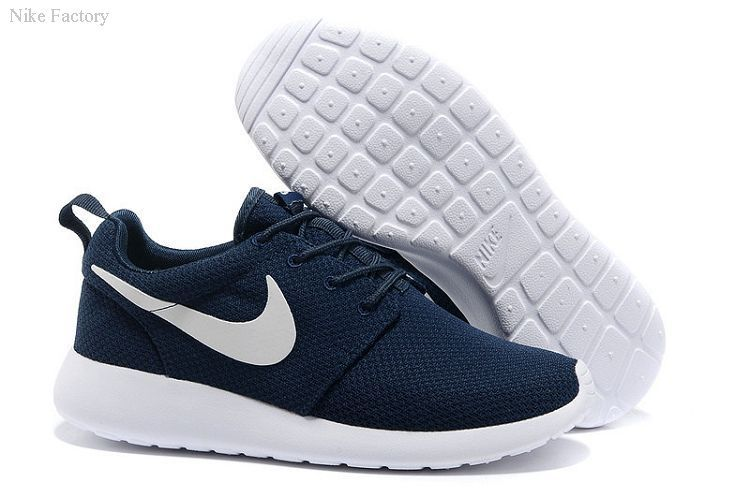 Discount Nike Roshe Run Women Shoes-Deep Blue White