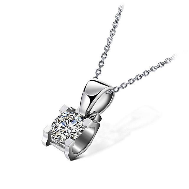 0.3Carat18K Solid White Gold Moissanite Pendant Necklace Engagement Jewelry