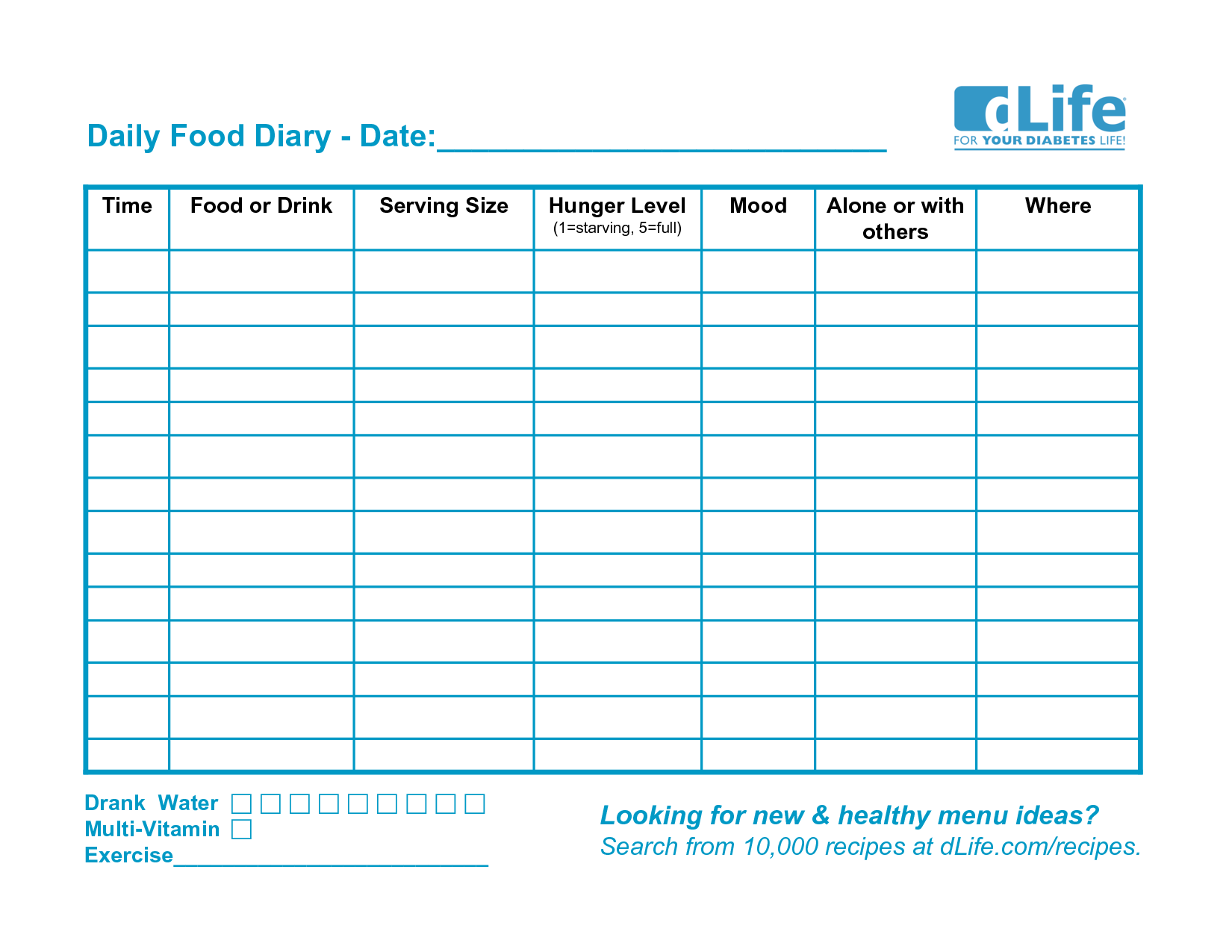 Free Printable Food Diary Template With Images