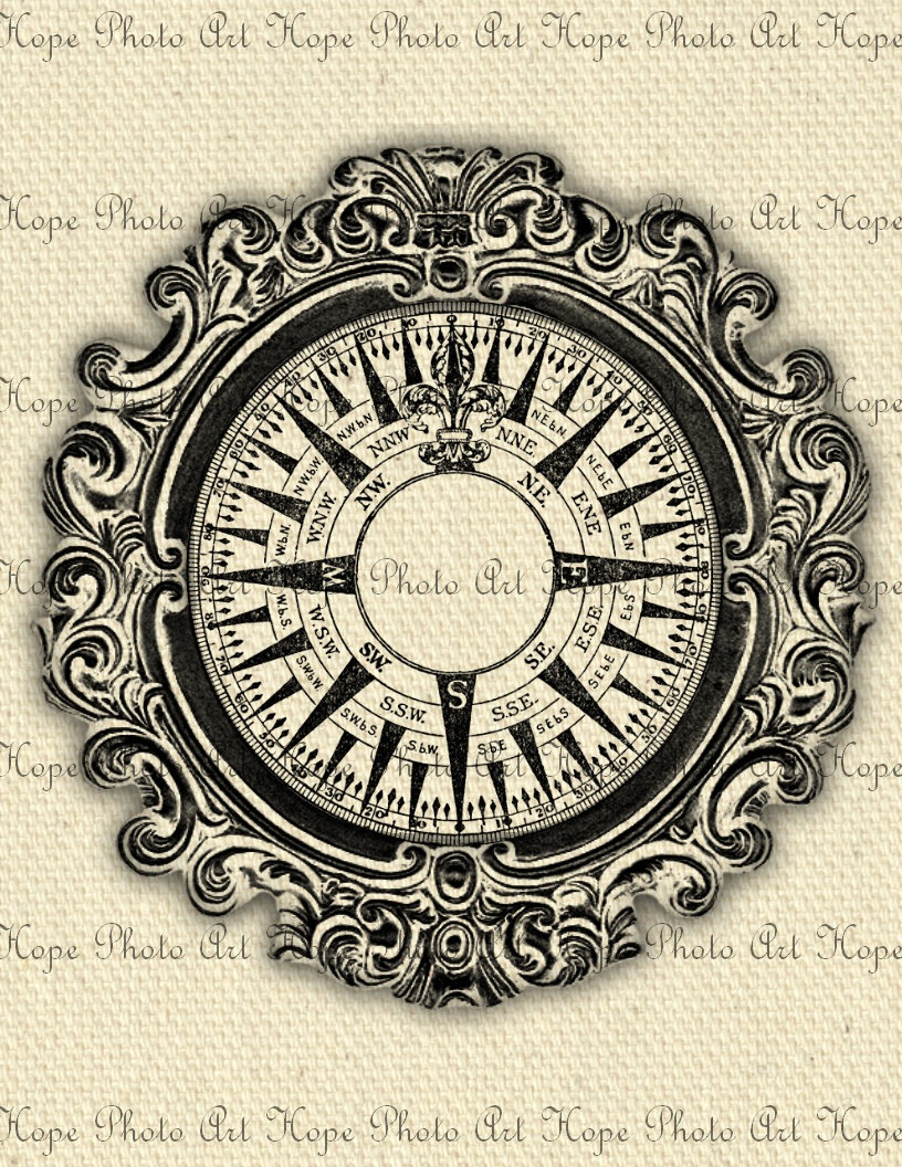 Nautical Vintage Compass 8 5x11 Fabric Image By Hopephotoart 1 25 Vintage Compass Tattoo Vintage Compass Compass Art