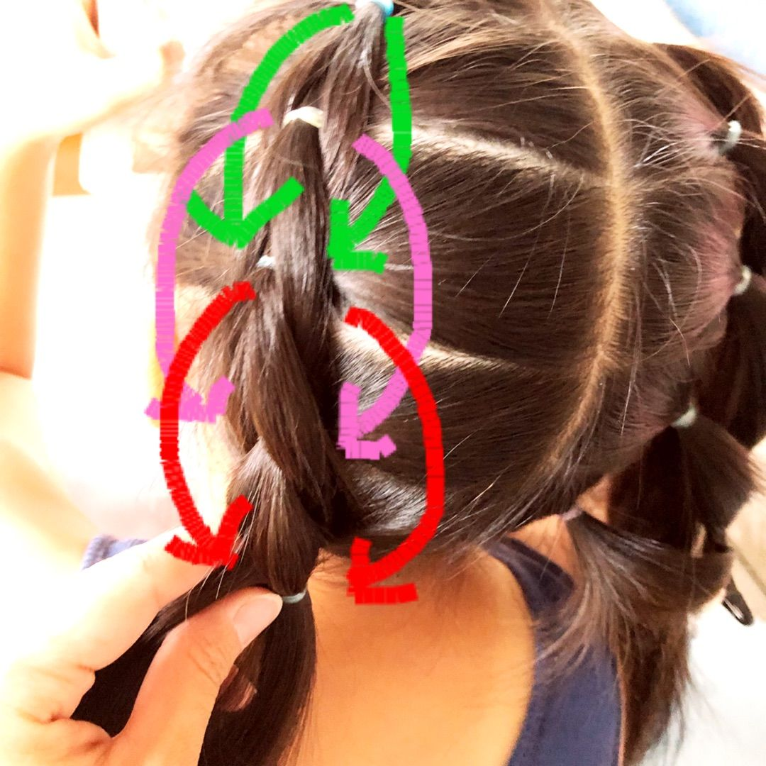 プルスルーブレードのツインテールヘアアレンジ 女の子 髪型 アレンジ 簡単 ヘアスタイル ダンス用ヘアスタイル