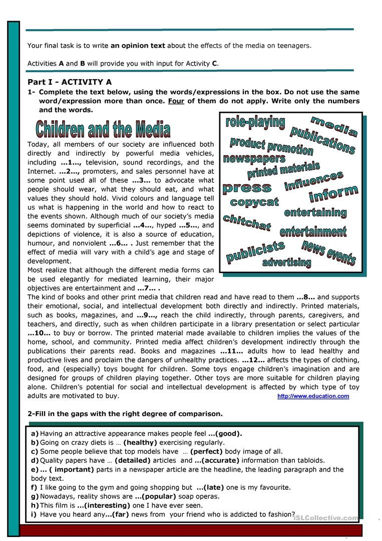 Children Adolescents And The Media Worksheet Free Esl Printable Worksheets Made B Reading Comprehension Lessons Esl Reading Elementary Reading Comprehension [ 1079 x 763 Pixel ]