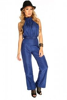 Navy Open Back Sexy Jumpsuit
