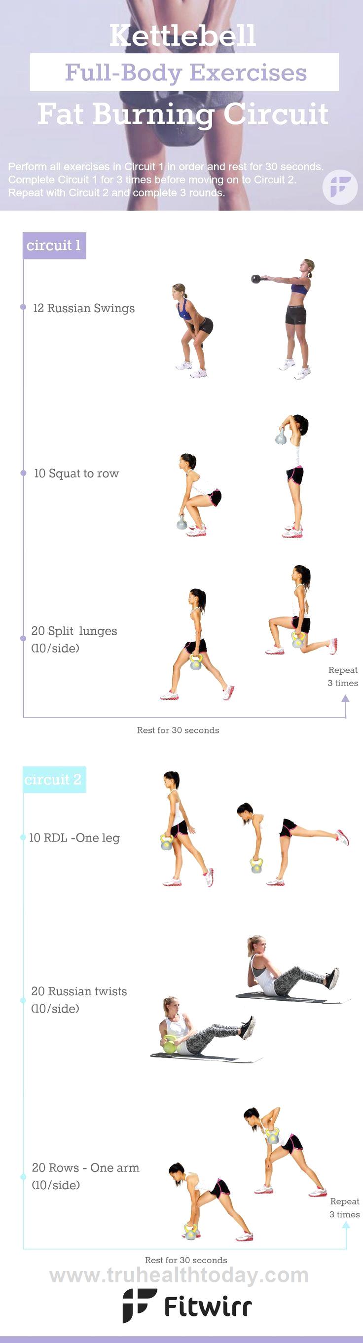 Kettlebell Circuit Workout | Fitness ♀️ | Fitnessübungen ...