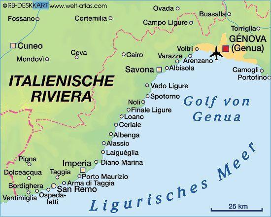 Karte Von Italienische Riviera Italien Italienische Riviera