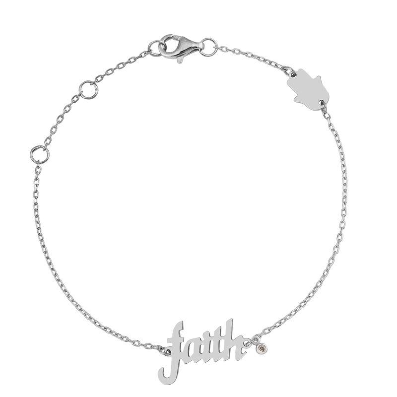 Silver Diamond Bracelet White Rhodium