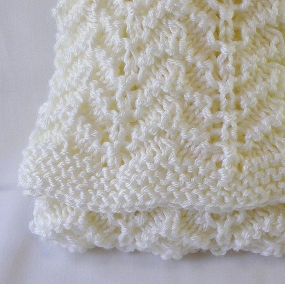 Baby Afghan Newborn Size Handknitted in Cream by knitwit4ever, $40.00