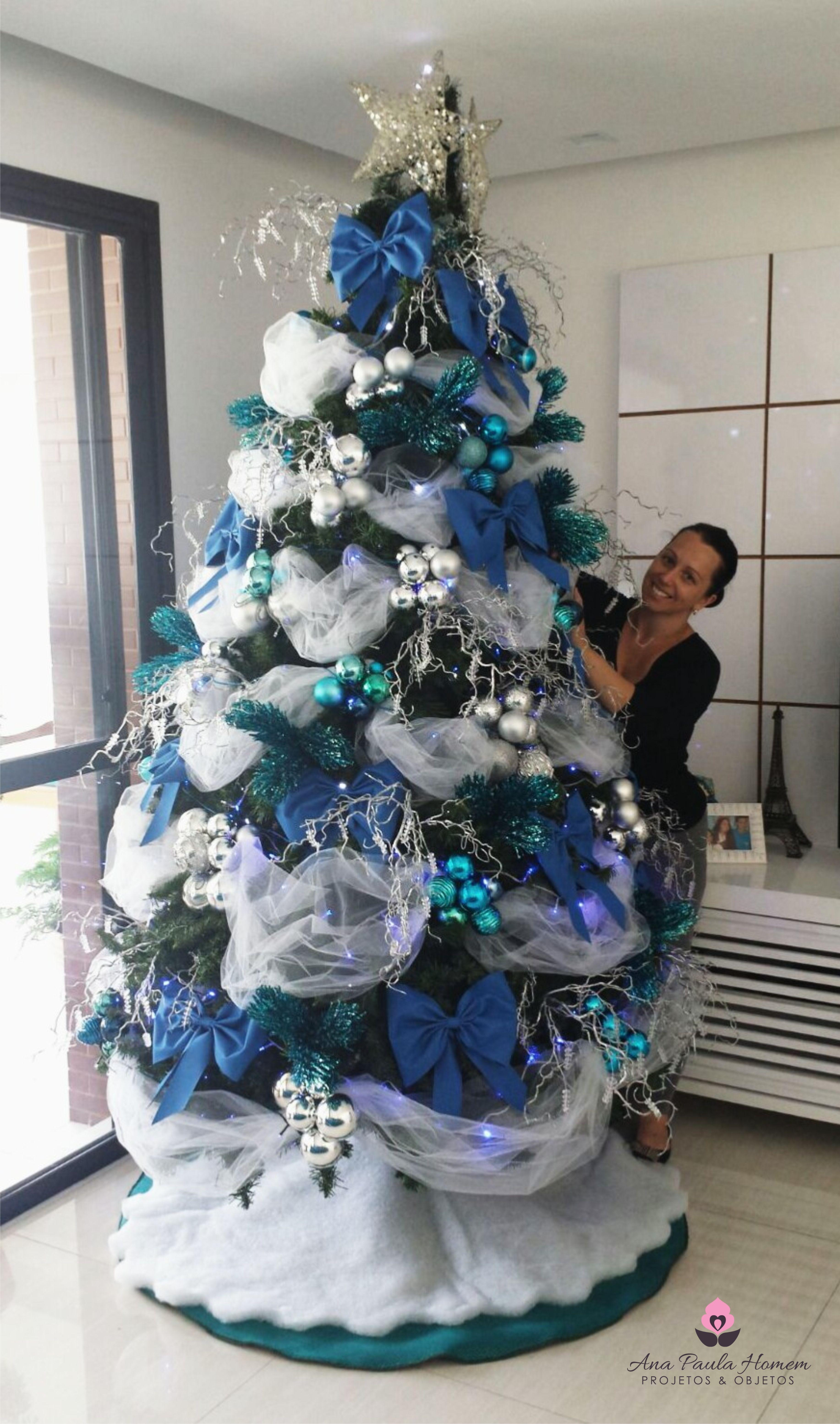 Arvore Natal Branca E Azul Com Tule Arvore De Natal Natal Imagens Boas Festas