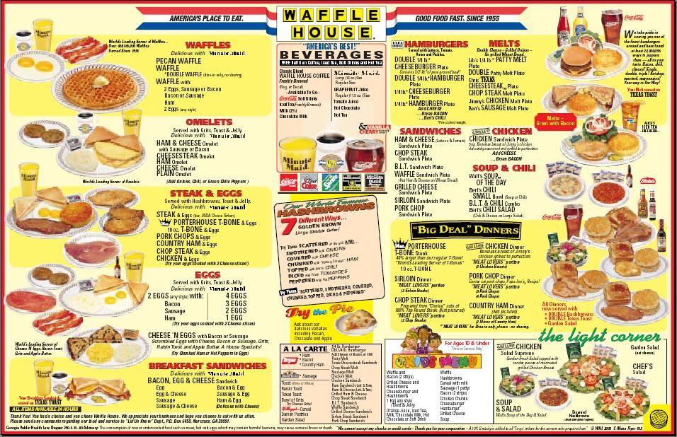 Sadly I Have Never Been To Waffle House Waffle House Menu