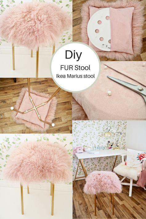 Ikea Hack, DIY Fur Stool – Dainty Dress Diaries