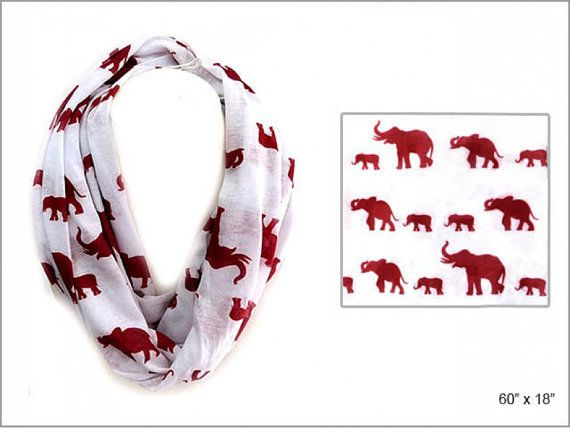 White with Red Elephants Infinity Scarf by RememberMeLLC on Etsy