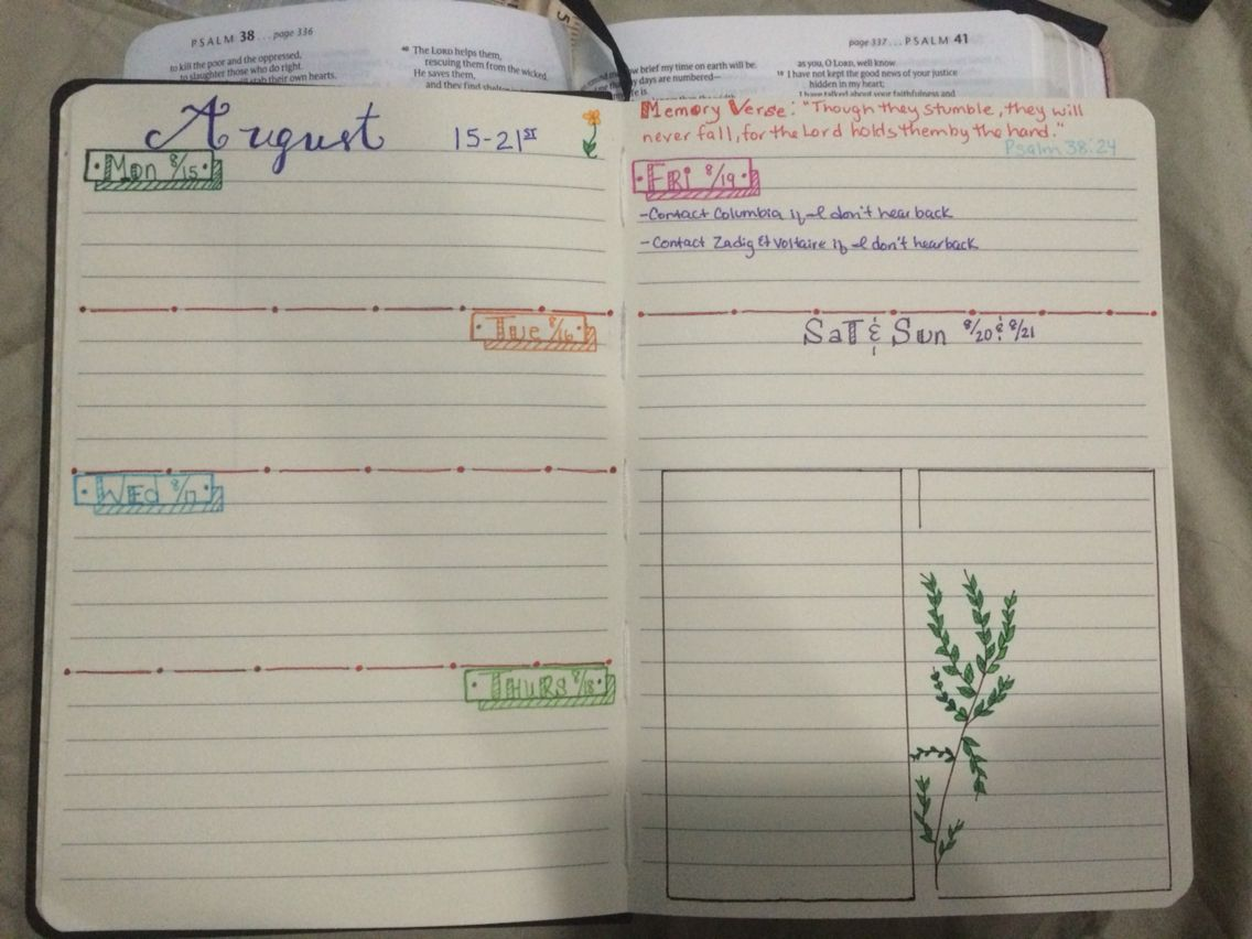 So I started a bullet journal/planner this month. This is my second week layout. The first week didn't really work for me, so I changed it up this week. Also have incorporated some of the different hand lettering that I've been practicing.