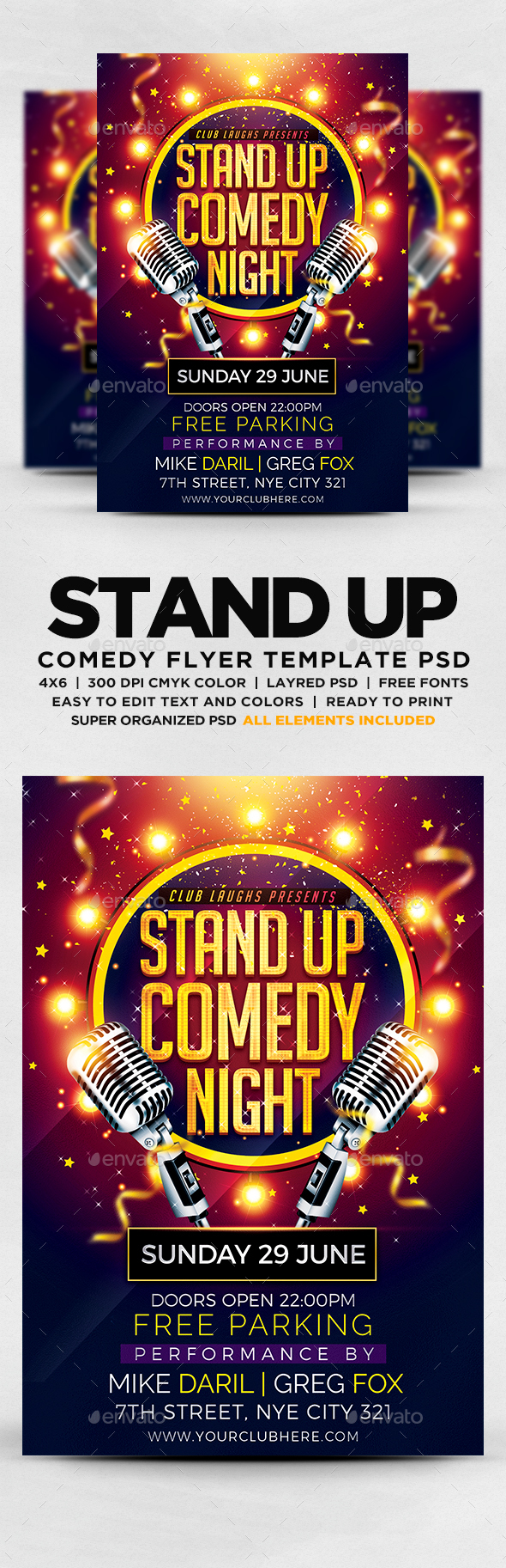 Stand Up Comedy Night | Flyer Templates | Pinterest | Comedy nights ...