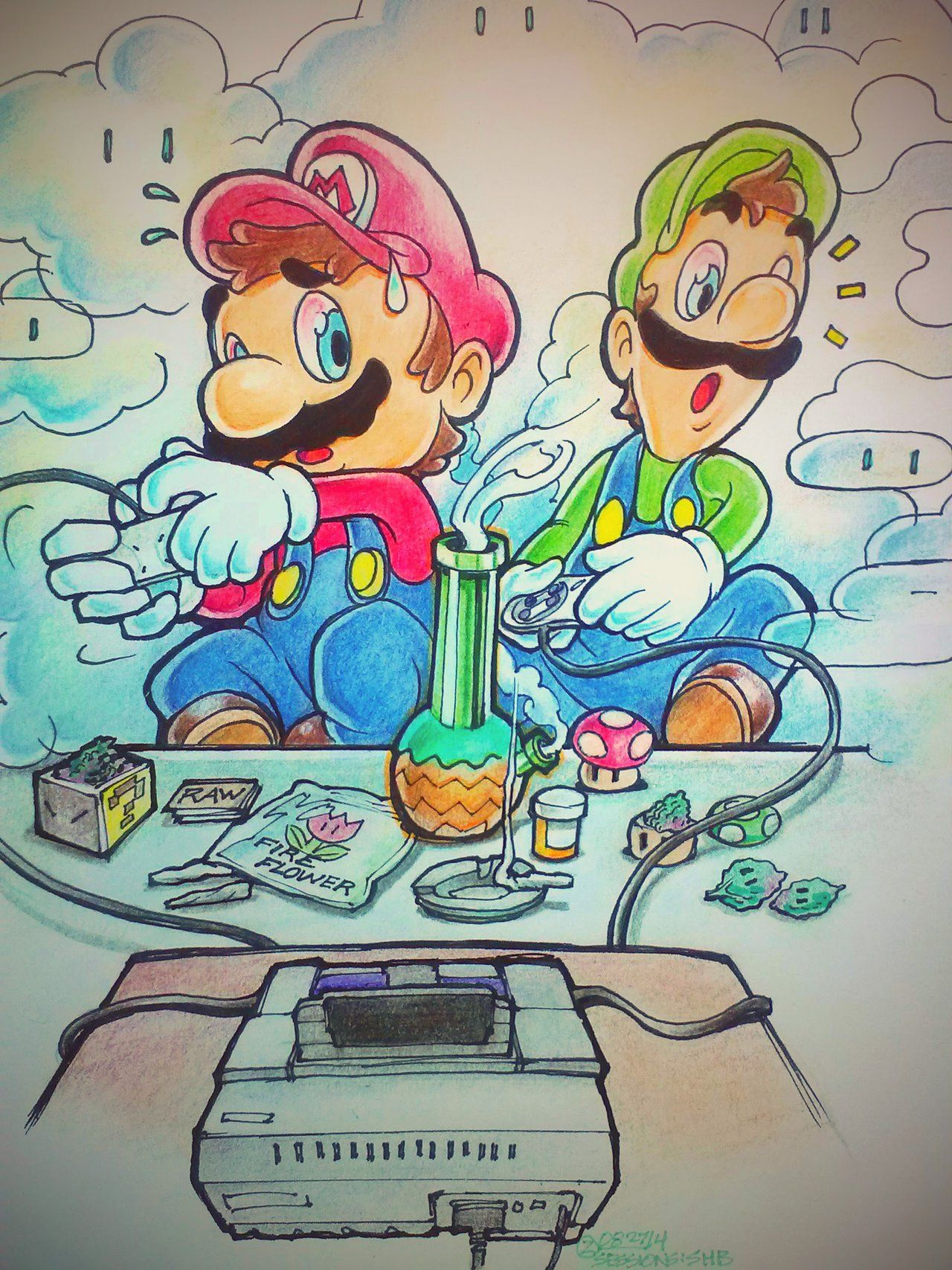 Mario And Luigi Smoking Weed Sessions Kart