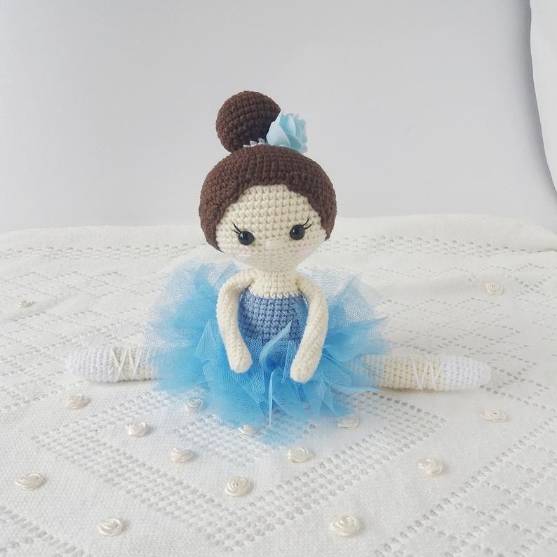 Crochet Ballerina Doll Toy Personalized Doll Blue Tutu Girl Etsy Personalized Dolls Heirloom Doll Handmade Stuffed Toys