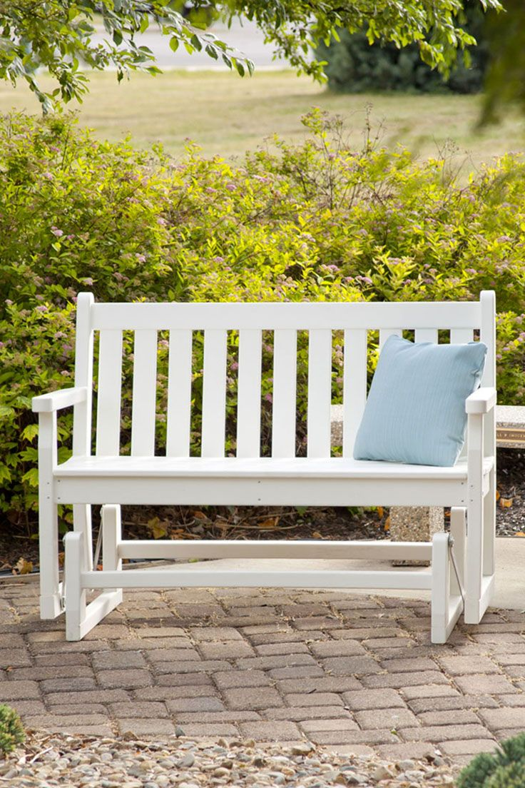 Cozy Up Together On This Durable All Weather Polywood Bench That S Extra Wide And Made To Glide Traditional Garden Outdoor Garden Bench Outdoor Rocking Chairs