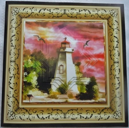Lighthouse at Sunset 6x6 Card with Pyramid by Sharon Wilson