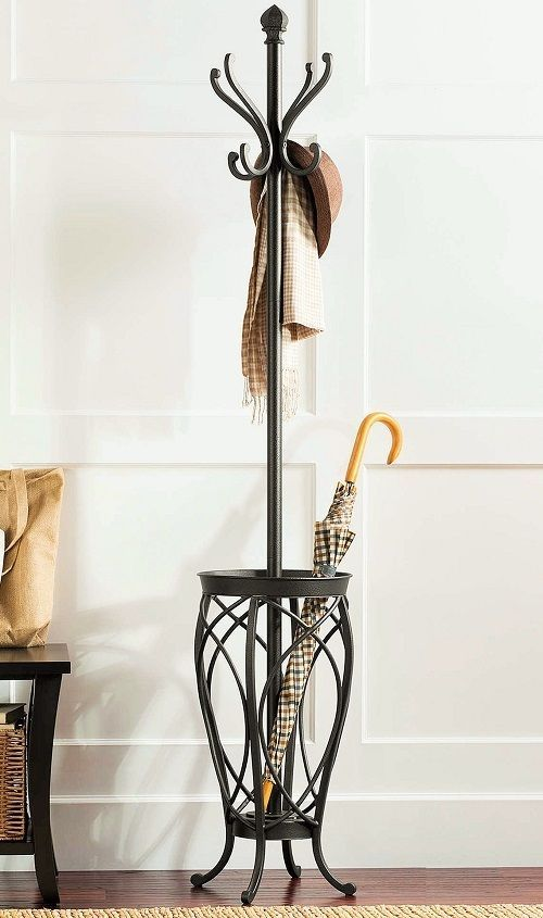 Metal Hall Tree Umbrella Stand Coat Rack Home Entryway Storage Store