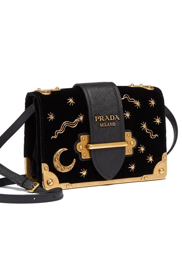 e86462946f58 prada black camera bag golden moon star embellished