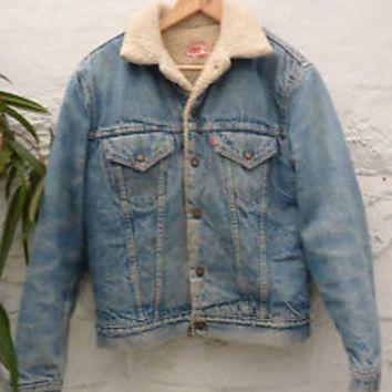 Vintage 90 S Levis Oversized Denim Jacket Fur Lined Mens Jean Urban Outfitters Denim Jacket With Fur Denim Jacket Fashion Stylish Jackets