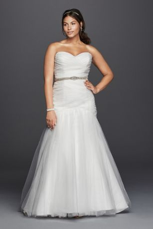 Strapless Mermaid Tulle Plus Size Wedding Dress Style 9WG3791