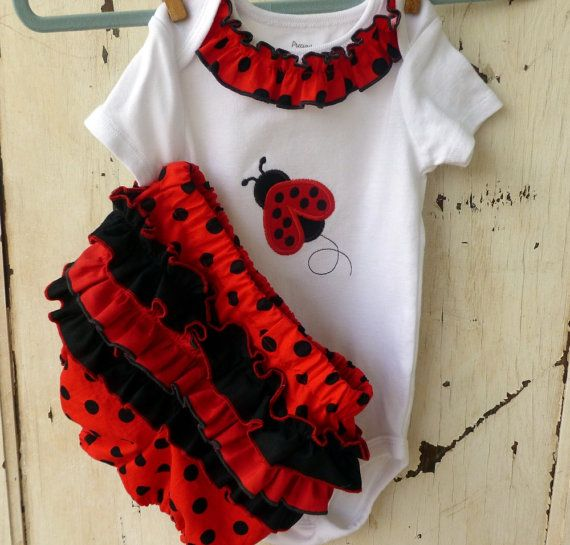 Ladybug Ruffled Diaper Cover Set Black and Red Baby Infant Toddler