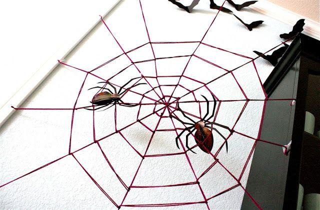 TUTORIAL 10 min Giant Yarn Spider Web MADE Halloween - giant spider halloween decoration
