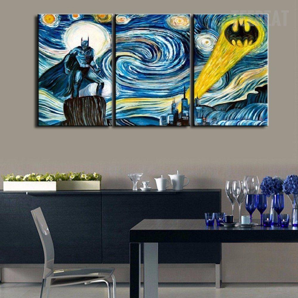Starry Night Batman 3 Piece Canvas Batman Wall Decor Canvas