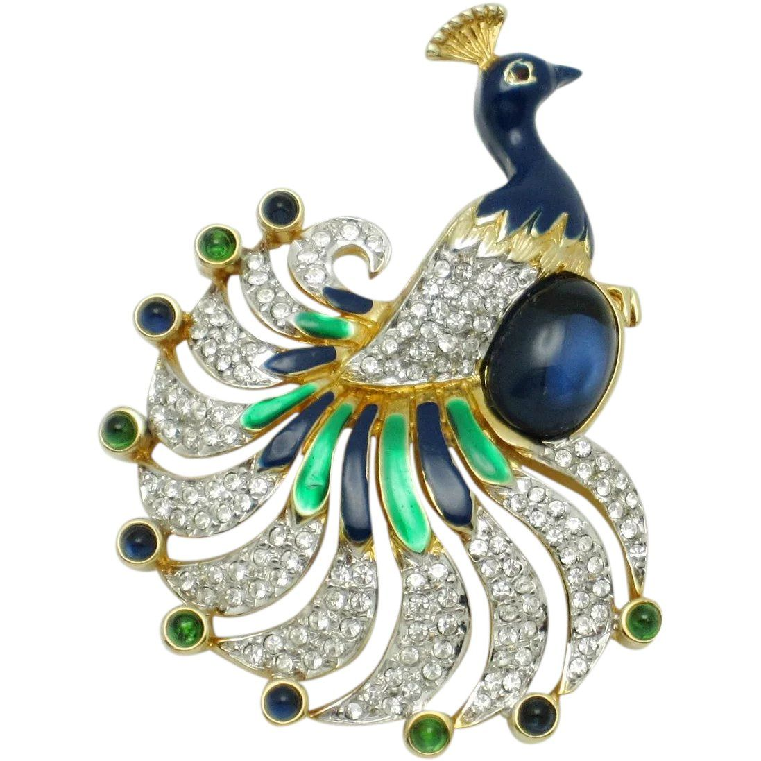 dfbc5c1f61e Gorgeous Vintage Signed KEYES Peacock Figural Brooch Pin --- found at  www.rubylane.com #vintagebeginshere #newarrivals #vintagejewelry #jewelry # vintage