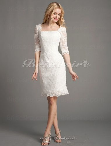 The Green Guide Sheath Column Lace Short Mini Square Wedding Dress 488364