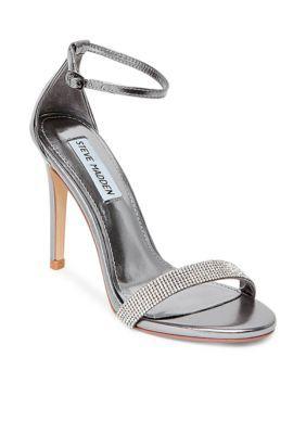 b9b0d57a8e0 Steve Madden Women s Stecy Open Toe Ankle Strap Dress Shoe - Pewter - 7.5M