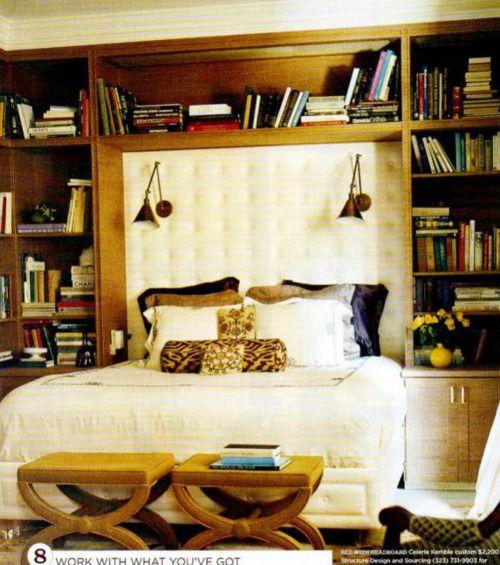 Celerie Kemble via Domino.  Bookcases, reading lamps.