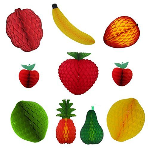 10-piece Assorted Large Honeycomb Tissue Paper Fruit Decorations.  Raspberry, banana, mango, strawberry, lemon, lime, pineapple, avocado, and  … | กระดาษ, ตกแต่งห้อง