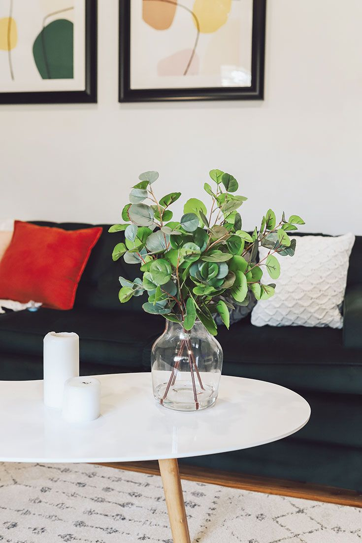 Artificial Plant Eucalyptus Leaves in Glass Vase - 20 ...