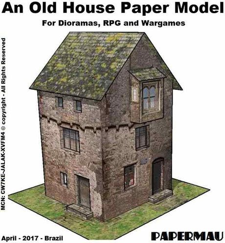 Paperized: An Old Stone House Paper Model