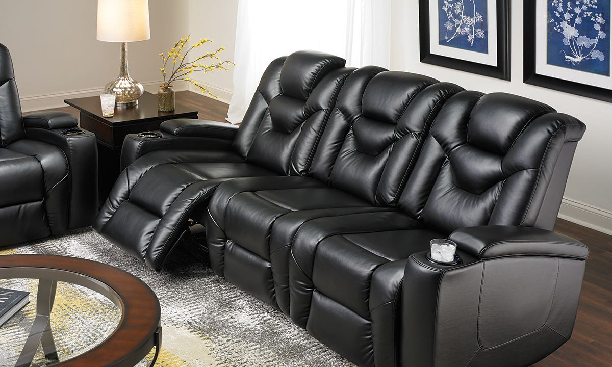 Marvelous Cool Leather Automatic Reclining Sofa , Good Leather Automatic Reclining  Sofa 71 In Living Room Sofa