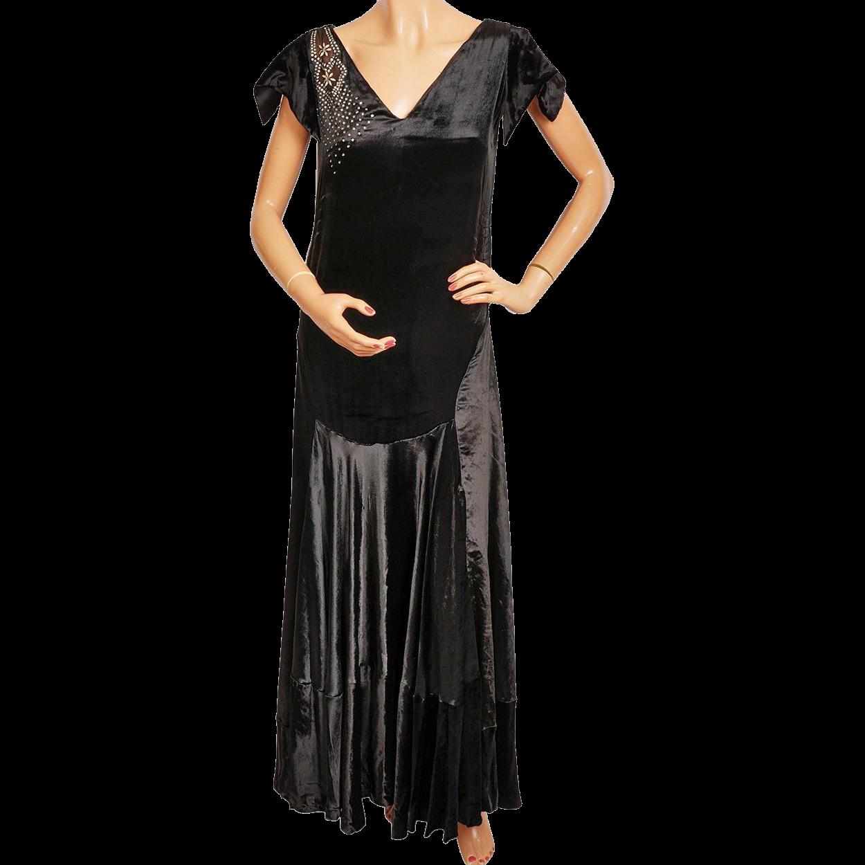 Vintage s black panne velvet evening gown s formal dress size