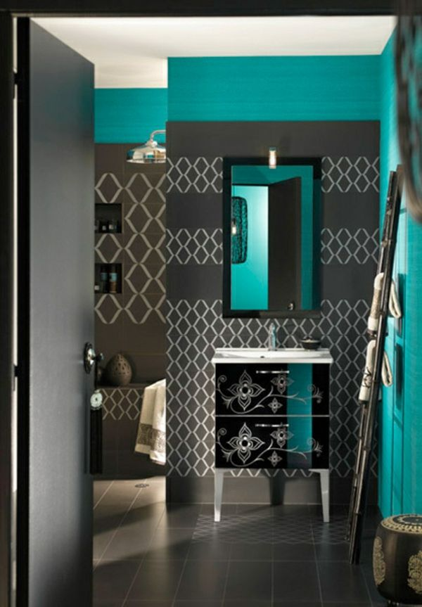 AuBergewohnlich Modernes Zimmer Graue Farbe Mit Türkis Kombiniert