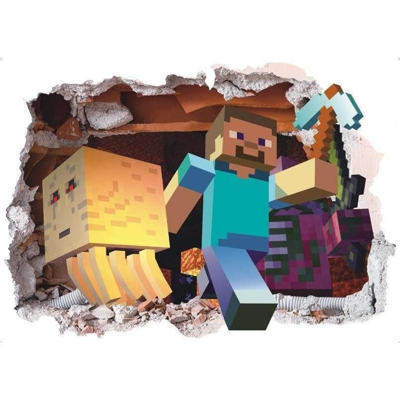 Minecraft Steve And Ghast In Nether Through Wall 3d Wall Decal Obrazky